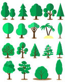 Flat tree set isolated on white background. Vector Stock Photos