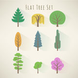 Flat tree set Royalty Free Stock Images