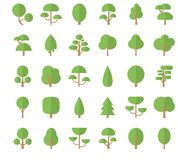 Flat trees icons. Set Flat Trees in a Flat Design. Isolated on White Background. Vector Icons Stock Image
