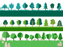 Flat trees, rocks, bushes and grass. Trees set in a flat design. Royalty Free Stock Photos