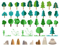 Flat trees, rocks, bushes and grass. Trees set in a flat design. Stock Photography