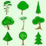 Flat  trees. A set of flat  trees containing 9 colorful pictures of green trees made from simple shapes Royalty Free Stock Images