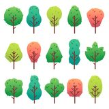 Flat trees set. Garden tree trunk, bush and pine. Nature green landscape vector isolated illustration vector illustration