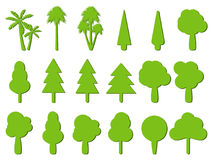 Flat trees. Tree icons with shadow. Vector Royalty Free Stock Photography