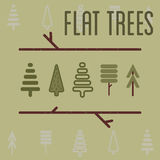 Flat trees Royalty Free Stock Images