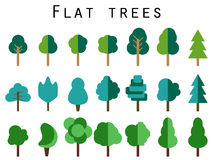 Flat trees. Trees set in a flat design. Vector icons. Stock Photos