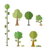Flat trees vector set with bush and isolated Royalty Free Stock Image