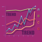 Flat trend graph Stock Images