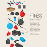 Flat trendy color background with sport equipments elements set for gym or fitness club flayers. Stock Photography