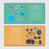 Flat trendy color background with sport equipments elements set for gym or fitness club flayers. Stock Images