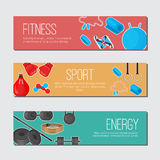 Flat trendy color background with sport equipments elements set for gym or fitness club flayers. Royalty Free Stock Photo