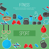 Flat trendy color background with sport equipments elements set for gym or fitness club flayers. Stock Photos