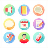 Flat trendy education colorful icons set Royalty Free Stock Photography