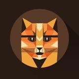 Flat trendy low polygon style animal avatar icon set. Vector illustration. Of cat or fox Stock Image