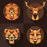Flat trendy low polygon style animal avatar icon set. Vector illustration. Stock Image