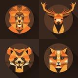 Flat trendy low polygon style animal avatar icon set. Vector illustration. Cat, fox, deer, lion, raccoon stock illustration