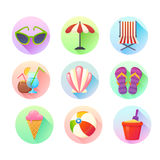 Flat trendy summer colorful icons set Royalty Free Stock Photos