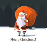 Flat trendy vector Santa Clause. In the wood with sack full of gifts and presents behind his back. Moon light and Christmas Stock Photo