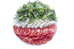 Flat tricolor. Tricolor salad dish made with cheese and tomatoes stock photo