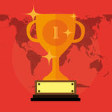 Flat Trophy With Stars And Number Royalty Free Stock Images