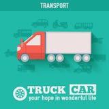 Flat truck car background illustration concept. Flat truck car background illustration Royalty Free Stock Images