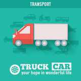 Flat truck car background illustration concept. Tamplate for web and mobile design Royalty Free Stock Photos