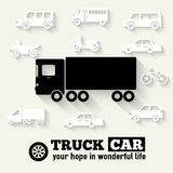 Flat truck car background illustration concept. Tamplate for web and mobile design Royalty Free Stock Photo