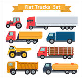 Flat Trucks Set Vector Illustration Stock Image