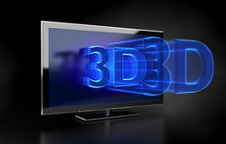 Flat TV - 3D HD concept Stock Photography