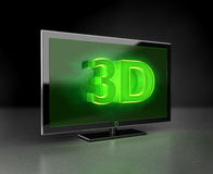 Flat TV - 3D HD concept in green. Flat HDTV screen with 3d text stock images