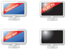 Flat TV icons. A set of flat TV icons - glossy version Royalty Free Stock Images
