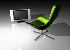 Flat TV - LCD and seat Stock Image