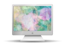 Flat tv with Modern Abstract Triangle Polygonal screen Stock Photo