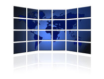 Flat TV screen with world map Stock Images