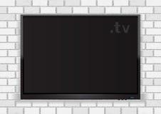 Flat TV on white walll Royalty Free Stock Photos