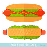 Flat two hot-dogs Royalty Free Stock Photo