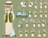 Flat type Arab old men_sickness Stock Photo