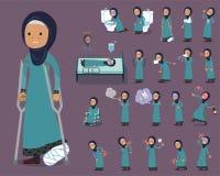 Flat type Arab old women_sickness Royalty Free Stock Images