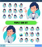 Flat type blue casual tuxedo men_icon. A set of tuxedo man with expresses various emotions on the SNS screen.There are variations of emotions such as joy and royalty free illustration