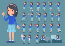 Flat type Blue clothes headband girl_1 Royalty Free Stock Photography