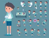 Flat type blue clothing boy_sickness Stock Images