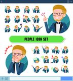 Flat type blue tuxedo men_icon. A set of tuxedo man with expresses various emotions on the SNS screen.There are variations of emotions such as joy and sadness.It stock illustration
