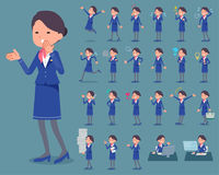Flat type Cabin attendant blue woman_1 Royalty Free Stock Photography