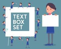 Flat type Cabin attendant blue woman_text box Stock Photo