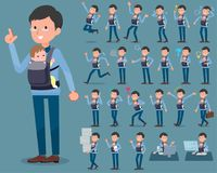 Flat type Dad and baby_1 Stock Photos