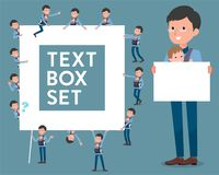 Flat type Dad and baby_text box Royalty Free Stock Image