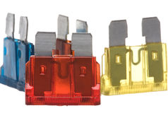 Flat Type Fuses Macro Isolated Royalty Free Stock Image
