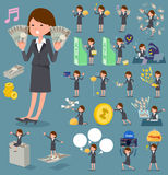 Flat type Gray suit business woman_money Stock Photo