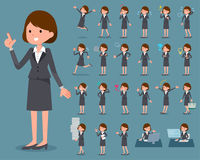 Flat type Gray suit business woman_1 Stock Photo