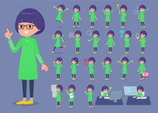 Flat type Green clothes Glasses girl_1 Royalty Free Stock Photos